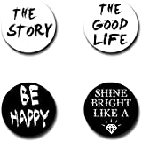 Capturing Happiness Multi-color Positive Thoughts Button Pin Badge Pack Of 4