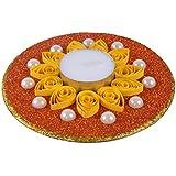 Ishu's Creation Wax, Quelling Paper & Pearls Decorative Tealight Candle (13 Cm X 13 Cm 2 Cm, Multi, Ish12_1,)