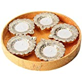 Matki Diya With Golden Flower Design - Set Of Five (Gold Color)