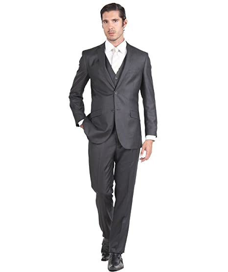 Mens Suit 2 Button 3 Piece Slim Fit 36S Charcoal