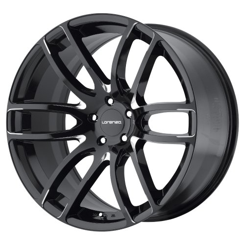 Lorenzo WL36 Gloss Black Wheel with Milled Accents (22×11″/5x120mm, +18mm offset)