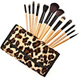Xaestival Professional 12 In 1 Makeup Brushes Set Cosmetic Kit With Brown Leopard Print Bag