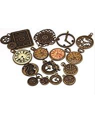Antique Bronze Mixed Colck Charms Vintage Metal Zinc Alloy Clock Charm Pendant For Jewelry Making 15Pcs/lot (NS584)