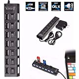 M.Way 7 Port USB 2.0 Hub High-Speed Data Transfer Ports Splitter AC Power Adapter With On Off Switches And LEDs...