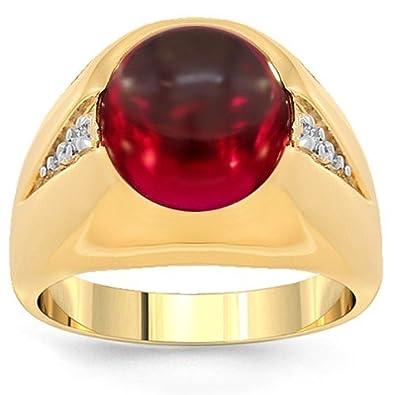 Yellow Gold Mens Diamond Garnet Pinky Ring