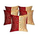 Zikrak Exim Star Embroidery Cushion Cover Red/beige 5 Pcs Set 40 X 40 Cm