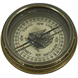 Shalinindia The Beatle Finder Compass Vintage Inspired Brass Compass With Leather Case-2 Inches-Travel Accessories