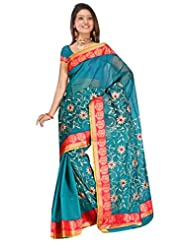 Sehgall Saree Indian Ethnic Professional Green Gadwal Mango Border Embroidery Saree