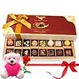 Valentine Chocholik Belgium Chocolates - Mixture Choco Treats With Teddy And Rose