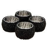 Handmade Indian Black Beaded Napkin Rings - Set Of 4 Rings