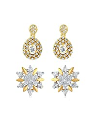 Combo Of Two Pair Of Earrings Made With Crystal And CZ For Women CO1104116G
