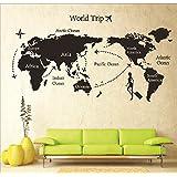 Syga Diy World Trip Map Art Wall Sticker For Study Room