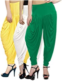 Fashion And Freedom Women's Pack Of 3 Yellow, White And Green Lycra Base Viscose Dhoti