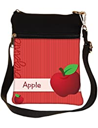 Snoogg Bright Organic Red Apple Card In Vector Format Cross Body Tote Bag / Shoulder Sling Carry Bag