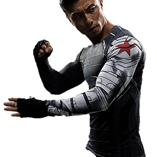 Winter Soldier Shirt Costume for Bucky Cosplay Black T-shirt for Men