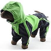AUCH 1Pcs Four-legged Hooded Dog Rain Jacket Jumpsuit Rain Poncho Coat Slicker For Medium To Large Dogs, Green