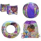 Disney Doc McStuffins 4 Piece Pool Toy Swim Set: Beach Ball, Swim Ring, Arm Floaties (Floats), Sling