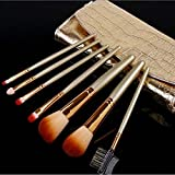 7 Pcs/set Professional Makeup Brush Cosmetic Brushes With Gold Leather Case 2set/lot