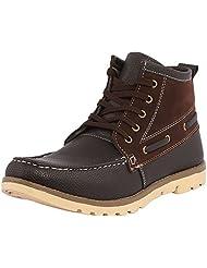 Kraasa Men's Black Faux Leather Boots- 6