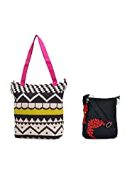 Combo Of Accrue, Lime Green And Pink Tote With Black Small Bag