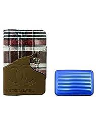 Apki Needs Long Brown Mens Wallet & Blue Colored Credit Card Holder Combo