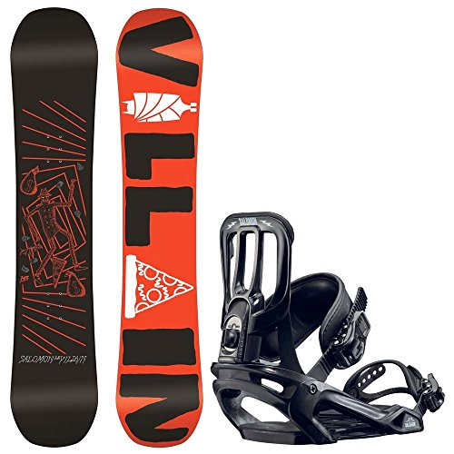 Kinder Freestyle Snowboard Set Salomon The Villain Grom 143 + Pact 2017 Boys Snowboard Set