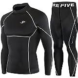 New Black Compression Under Base Layer Wear Top & Pants SET Skin Tights Mens
