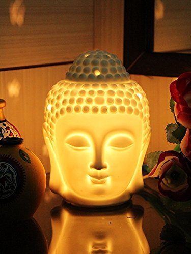 Crazy Sutra Ceramic White Buddha Electric Aroma Oil Diffuser With Pack Of 6 Aroma Essential Oil Air Freshener...