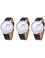 Bollywood Designer Stylish Free Diamond Dial Fancy Leather Watch For Girls And Women Pack Of 3 (Black-Black-Black)