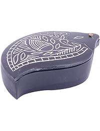 Sheela's Bidri Silver Engraving Mango Shape Box For Jewellery,supari Etc (SH0771)