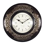 Home And Bazaar Traditional Rajasthani Wooden Wall Clock With Brass Finish