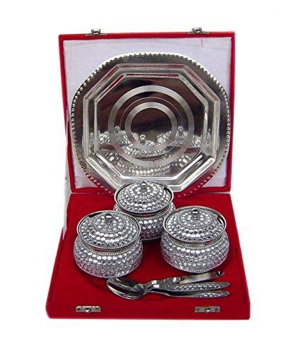 Rastogi Handicrafts Decorative Three Bowl Tray Serving Set ! Studded Work (Bowl Capacity 200 Ml Each )