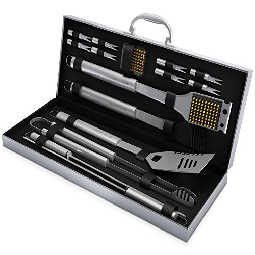 BBQ Grill Tools Set with 16 Barbecue Accessories -Perfect Christmas Gifts Idea -Stainless Steel Utensils with Aluminium Case- Men Complete Outdoor Grilling Kit for Dad