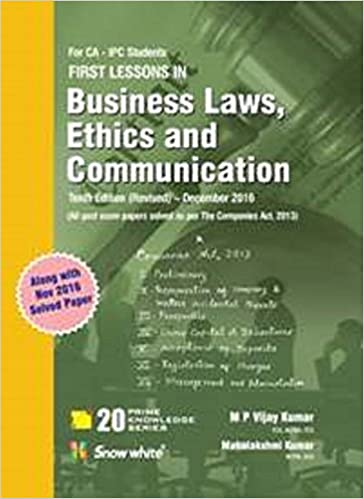 M P Vijay Kumar book on Business Laws, Ethics & Communication for CA IPC May 2017