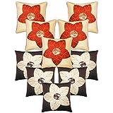 Laser Cut Flower Cushion Covers Combo Beige & Brown 40 X 40 Cms(10 Pcs Set)