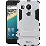 Quicksand Cubix Robot Case For Google Nexus 5X Case Back Cover Warrior Hybrid Defender Bumper Shock Proof Case Armor Cover With Stand For Google Nexus 5X Silver