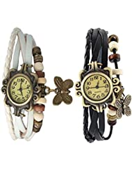 Felizo Vintage Leather Bracelet Butterfly Leather Watch - Combo Offer Set Of 2 For Women & Girls ( White & Black )
