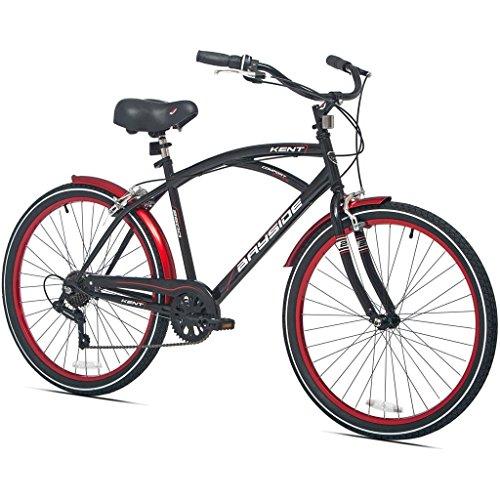 26 Inch Kent Bicycles 7 Speed Aluminum Frame Cruiser Bike for Men, Black