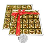 Chocholik's Perfect Combination Of Almond And Fruit & Nut Chocolate Truffles With 5gm Pure Silver Coin - Diwali...