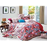 Bianca Chantal Cotton Double Bedsheet With 2 Pillow Covers - Coral Red