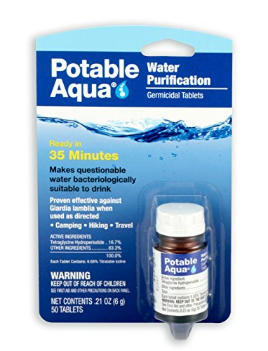 Potable Aqua Water Purification Treatment - Portable Drinking Water Treatment for Camping, Emergency Preparedness, Hurricanes, Storms, Survival, and Travel (50 Tablets)