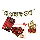 Skylofts 9pc Heart Shaped Chocolate Box With A Cute Teddy, A Candle Diya Set & A Bandanwaar, Ganeshji Idol Diwali...