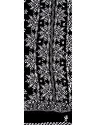 Exotic India Black Salwar Kameez Fabric With Lukhnawi Chikan Embroidery - Black