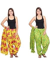 Rama Set Of 2 Floral Print Green & Yellow Colour Full Patiala With Dupatta Set