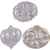 "GS MUSEUM Silver Plated Rani Kumkum Plate, Silver Plated Pan Kumkum Plate And Silver Plated 6"" Pooja Plate"