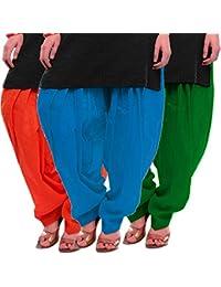 Women's Orange Firozi-Green Cotton Patiala Salwar