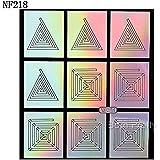 Jinny International Geo Pattern Manicure Nail Art Vinyls Stencil Stickers, Silver Laser (9 Guides Per Sheet)