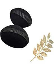 Style Tweak Combo Of Golden Leaf Hair Pin And Hair Puff Bumpits (Set Of 2)
