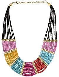 Voylla Trendy Multi Color Beads Long Necklace