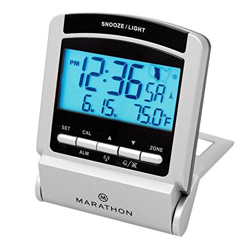MARATHON CL030035 Travel Atomic Alarm Clock with 4 Time Zone